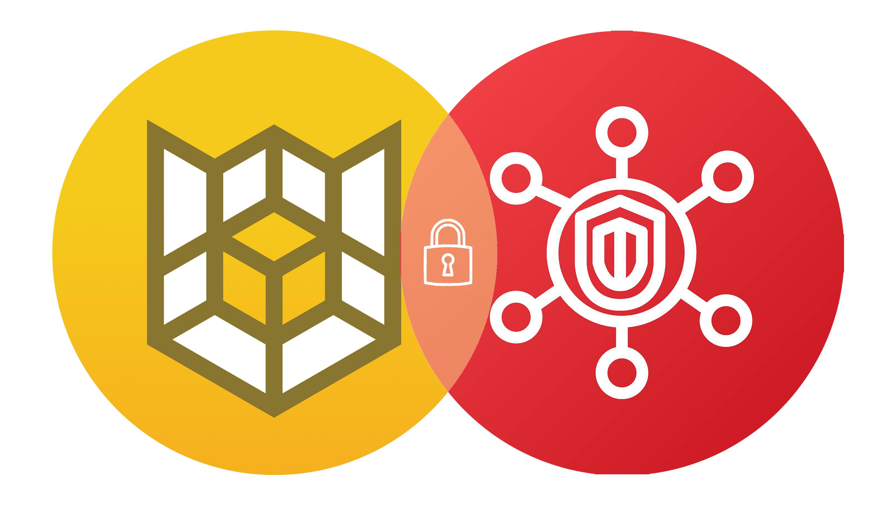 Circular Cloud Custodian and AWS Security Hub logos intersected like a Venn diagram