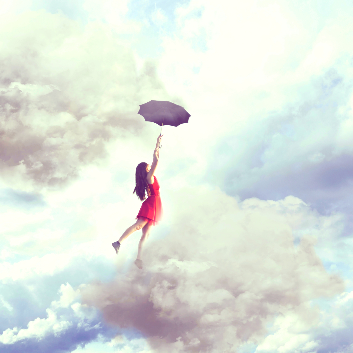 Whimsical image of a human lifting off into the clouds with an open umbrella